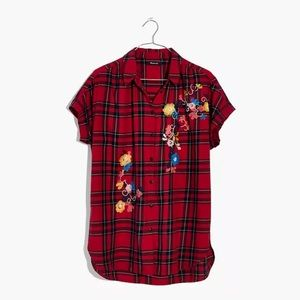 Madewell Embroidered Dahl Plaid Central Shirt M